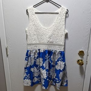 Blue white lace dress